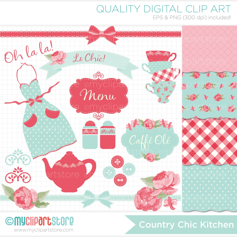 kitchen tea clipart combo shabby chic roses farmhouse rh etsy com shabby chic clip art shabby chic christmas clip art