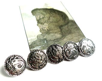 Pewter buttons norwegian traditional fairy tale figures