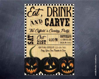 Eat, Drink and Carve Halloween Party Invitation Digital Printable!
