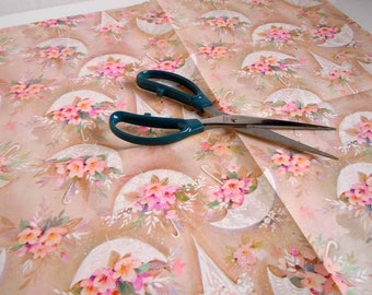 1970s Wedding Gift Wrap Paper Brown Tan Pink Flowers Floral Umbrellas Parasols Wrapping Paper