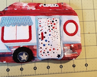 Camper coin purse and accessory pouch travel toiletry bag zipper pouch lined and Embroidered.