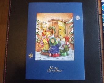 Handmade 3D Decoupage Christmas card Bears carol singing in doorway *personalisation can be added*