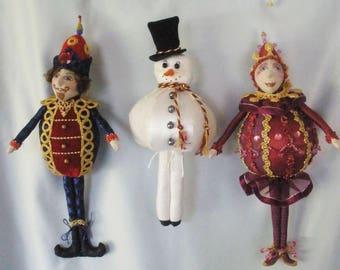 MM257E - JOYFUL JOLLIES- 3 Christmas Ornaments, Cloth Doll Making Pattern, PDF Download Sewing Pattern