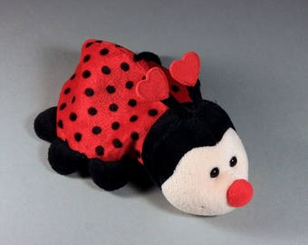 Russ Ladybug, Valentine's Day Gift, Plush Animal, Plush Lady Bug, Red and Black, Heart Antennae
