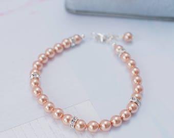 Rose Gold Bracelet, Rose Gold Pearl Bracelet, Rose Gold Wedding, Rose Gold Bride, Rose Gold Bridesmaid, Mother of the Bride, Wedding Gift