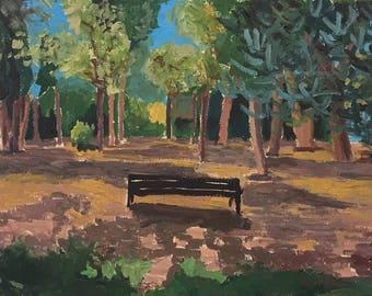 "Park in Nice  – Original Oil Painting on Paper – 18,8""x12,5"" (48 cmx32)"