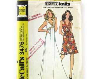 Vintage 70s Sewing Pattern /  McCalls 3476 / Misses Sleeveless Grecian Tied Dress for Knits / Size 6-16 / Uncut FF