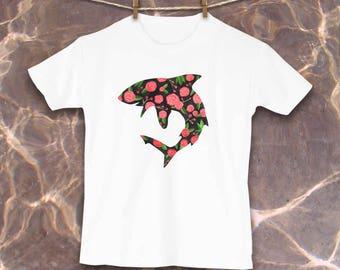 Shark Kid shirt, Cute Toddler Tshirt, Unique Clothes, Kids Clothes, Shark kids clothes, Shark gift, Floral print, Gifts for girls