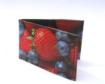 Strawberry and blueberry credit card, travel card holder