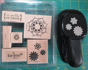 Stampin' Up! One of a Kind stamp set and Boho Blossum punch bundle - wood mount - used - Retired