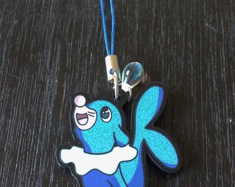 1.5 Inch Popplio Acrylic Phone Charm or Keychain - Pokemon Sun Moon Seal Alola Water Starter Blue Sea Lion - Animal Christmas Ornament