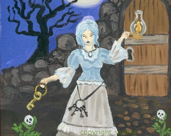 Gothic Victorian woman with skeleton keys, art reproduction 5 x 7 inch photo print matte haunted spooky Halloween lamp moon skull flower