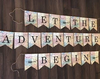 Let the Adventures Begin Banner, Let the Adventures Begin Sign, New Beginnings Banner, All Maps Banner, Adventure Theme Party, Arrows