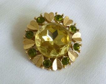 Vintage Avon Brooch, Yellow Rhinestone Cabochon Pin Brooch, Avon Jewelry