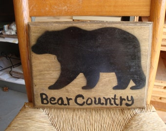 Bear Country Hand Painted Wood Sign