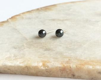 Hematite Stud Earrings 4mm, Grey Earrings, Hematite Jewelry, Gray Stone Earrings, Hematite Jewellry, Hematite Earings, Stud Earrings, GSE24