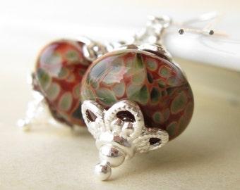 Rose Garden Earrings Boro lampwork sterling silver.