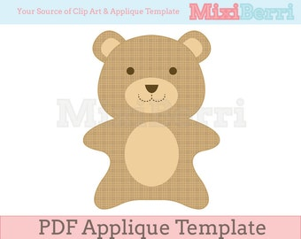 Tiny Bear Applique Template PDF