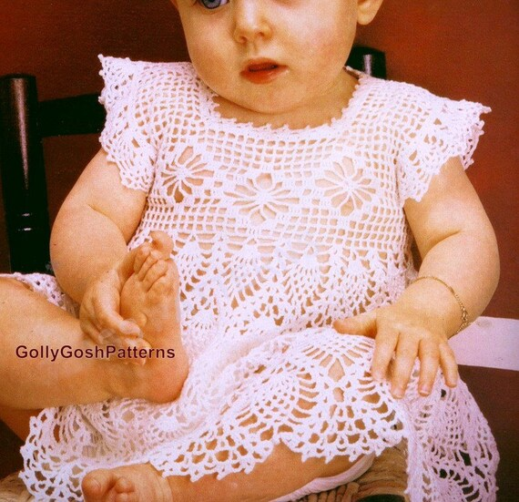 Pdf Crochet Pattern Baby Crochet Dress With Cap Sleeves