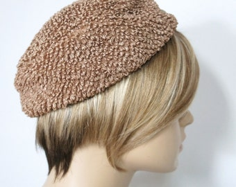 1960's Pill Box Hat Soft Body Vintage Hat Loopy Cocoa Brown Chapeau Mod Hat