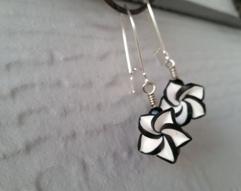 Black and White Flower Dangle Earrings