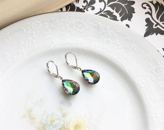 Vintage Glass Watermelon Jewel Dangle Earrings, Rainbow Heliotrope Glass Earrings, Simple Dangle Earrings, Hypoallergenic, Silver Earrings