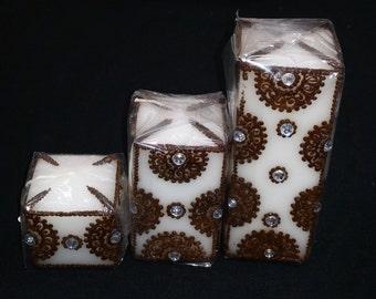 Set of 3 Indian Henna Designed Candles