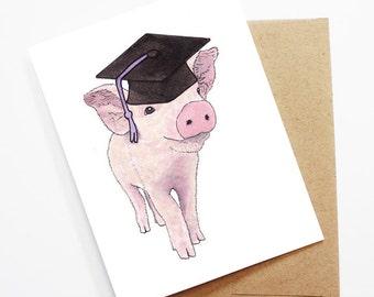 Graduation Card - Piglet, Grad Card, College Graduation, High School Grad, Congrats Grad, Congrats Card, Cute Animal Card, Piglet Card