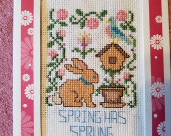 "Handstitched ""Spring Has Sprung"" Spring/Easter Themed Greeting Card"
