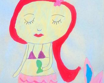 Mermaid and fish Folk Art Happy Art Kids Art 8.5 x11 Acrylic Paint on Paper Original