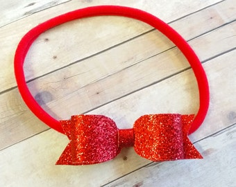 Red Glitter Headband, Red Glitter Bow, Baby Bow Headband, Nylon Headband Bow,Newborn Headband, Red Baby Headband, Red Bow Headband, Baby Bow