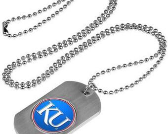 Kansas Jayhawks Stainless Steel Dog Tag Necklace