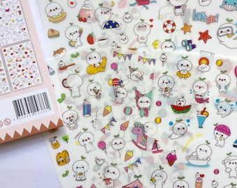 Cute Kawaii Ghost Budding Pop Stickers for  Planners Decorations Japan