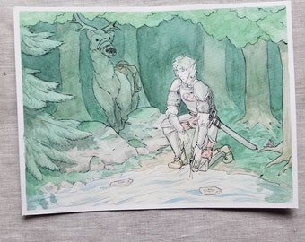 A Brief Rest - Original Art Watercolor Sketch of Comic Illustration