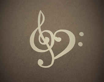 Treble Clef Bass Clef Music Lovers' Heart Vinyl Decal