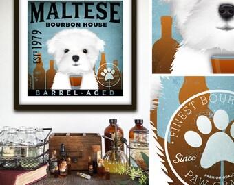 unframed Maltese dog bourbon whiskey Company illustration signed artist's print by stephen fowler geministudio