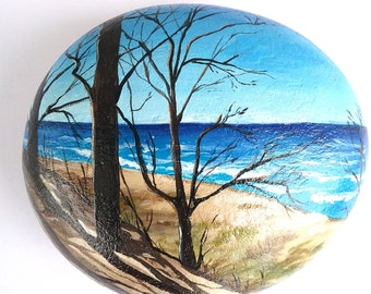 Painted rock beach scene, gift for mother, gift for friend, lake michigan painted beach rock, ocean painted rock, painted ocean beach art