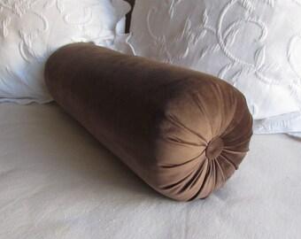 BROWN VELVET decorative Bolster Pillow 7-8x22
