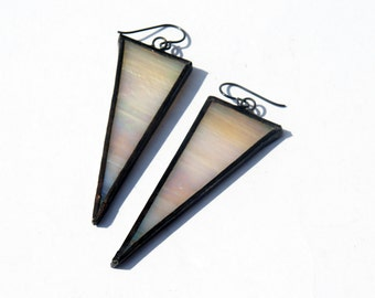 EARRINGS -  Natural  Iridescent Triangle Earrings - Stained Glass Earrings