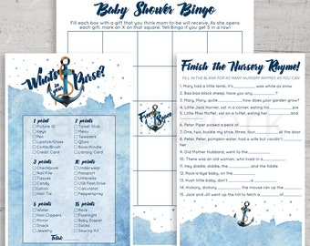 Nautical Baby Shower, Game Sheets, Anchor, Ahoy It's A Boy, Nautical Party, Baby Boy Shower, Printables, Baby Shower Bingo, Nursery Rhymes