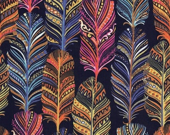 Catching Dreams Feathers in Blue, Pink, Orange & Yellow Indian Summer Collection Cotton Fabric by Michael Miller - FQ