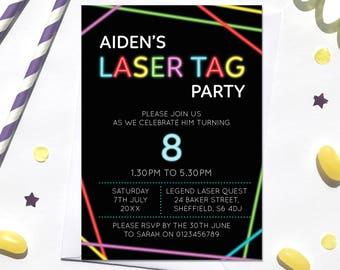 Laser Tag Birthday Invitation, Digital File, PDF, DIY, Lazer Tag invitation, Boy Birthday Invitation, birthday printable, laser quest invite