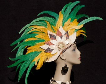 Tahitian & Rarotongan Headpiece. Authentic Tapa Cloth With Rooster Tail Feathers Headpiece. Perfect For Dancers Of All Ages, Luau, Soloist!!