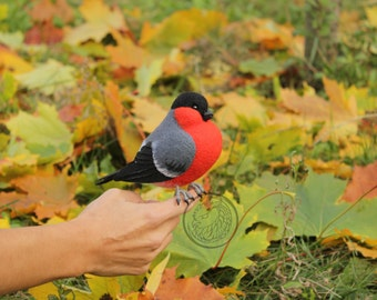 Made to order (this very item is alredy SOLD) Bullfinch - Backyard bird toy, faux taxidermy, needle felted bird, soft sculpture
