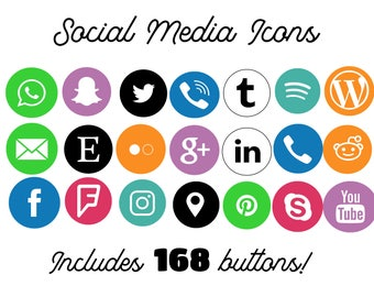 168 Colored Social Media Icons Social Media Buttons, Social Icons, Blog Icons, Website Branding, Blog Buttons,