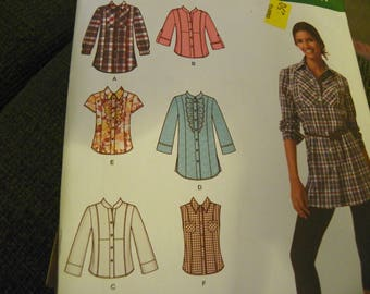 Sewing Pattern - Simplicity Easy-To-Sew 2447 - Misses' Shirt In 2 Lengths With Front, Collar, Sleeve Variations - Size U5 16, 18, 20, 22, 24