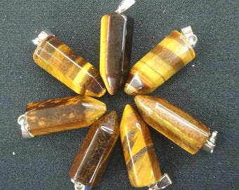 20pcs/lot - Natural Tiger Eye Stone Point Pendant 9x22mm - Silver Bail,mens pendant, Dowsing Pendulum, Chakra Pendulum