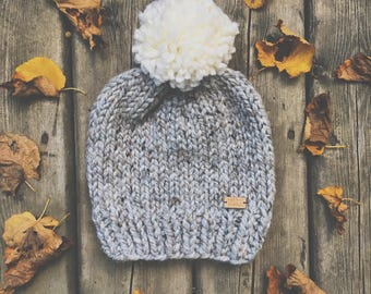 The Cape North Hat - Chunky slouchy knit hat in heathered grey and giant white pom-pom