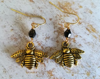 Black and Gold Bumblebee Earrings | Dangle Earrings | Beaded Earrings | Apiary Jewelry | Mother's Day Gift | Gift for Her
