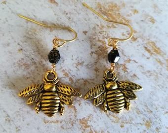 Black and Gold Bumblebee Earrings | Dangle Earrings | Beaded Earrings | Apiary Jewelry | Gift for Her